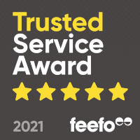 2021 Trusted Service Award badge from feefo.com