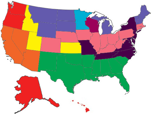 Map of the United States color-coded by shipping region